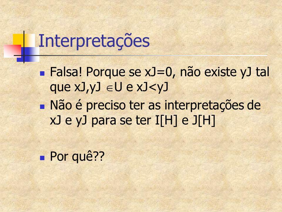 Interpretações Falsa! Porque se xJ=0, não existe yJ tal que xJ,yJ U e xJ<yJ. Não é preciso ter as interpretações de xJ e yJ para se ter I[H] e J[H]